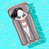 Fille sur le matelas gonflable dans la piscine illustration libre de droits
