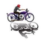 Fille sur le motorsycle illustration de vecteur