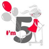 Fille sur le scooter avec des ballons, j'ai cinq ans Images stock