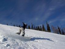 Fille sur le snowboard Images stock