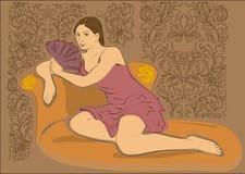 Fille sur le sofa illustration stock