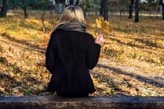 Fille sur un banc avec des feuilles d'érable Image libre de droits