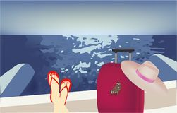 Fille sur un catamaran, valise, chapeau, papillon illustration stock