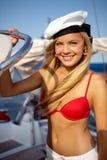 Fille sur un yacht photo libre de droits