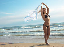 Fille sur une plage Photo libre de droits