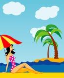 Fille sur une plage illustration de vecteur