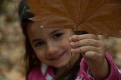 Fille tenant la feuille d'automne Image libre de droits