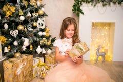 Fille tenant le cadeau de Noël Images libres de droits