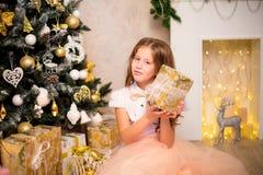 Fille tenant le cadeau de Noël Photos stock