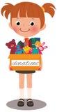 Fille tenant une boîte de donations illustration libre de droits