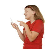 Fille texting sur le téléphone portable Photo libre de droits
