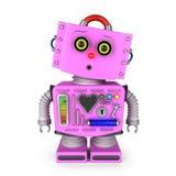 Fille étonnée de robot de jouet Photographie stock