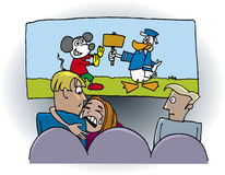 Fille touchée dans le théâtre de film avec l'ami illustration libre de droits