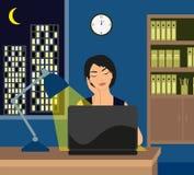 Fille travaillant tard sur son ordinateur portable Illustration Libre de Droits