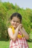 Fille triste avec la fleur Photo stock