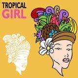 Fille tropicale avec le chapeau de fruit Photographie stock libre de droits