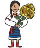 Fille ukrainienne avec des tournesols Photo libre de droits