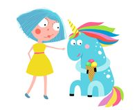 Fille Unicorn Eating Ice Cream Cartoon illustration libre de droits