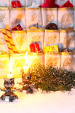 Filled Advent Calendar by candlelight Royalty Free Stock Image