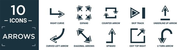 Free Filled Arrows Icon Set. Contain Flat Right Curve, Expand, Counter Arrow, Skip Track, Underline Up Arrow, Curved Left Arrow, Stock Photos - 207085173