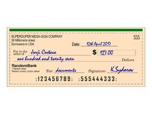 Filled Bank Cheque. The illustration of a filled bank cheque. Great for your infographics royalty free illustration