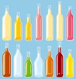 Filled Bottles set Royalty Free Stock Photography