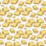 Filled Bread Slices Seamless Vector Pattern, Hand Drawn stock illustration