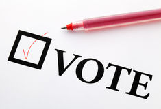 Filled check boxes with word VOTE Royalty Free Stock Photos