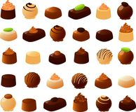 Filled Chocolates. Vector illustration of various kinds of filled chocolates Royalty Free Stock Image