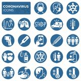 Filled coronavirus icons set. COVID-19 prevention and protection block linear sign collection. Second wave of coronavirus