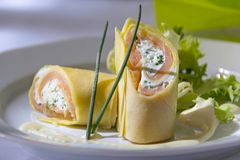 Filled Crepes with Salmon Stock Image