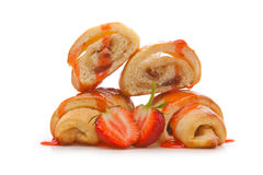 Filled croissant with strawberry jam Royalty Free Stock Images