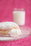 Filled donut and milk Royalty Free Stock Photo