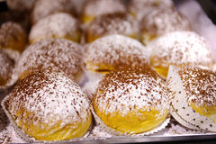 Filled donuts covered with powdered sugar and cocoa powder. Stock Photo