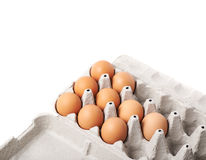 Filled egg carton package isolated Royalty Free Stock Photo