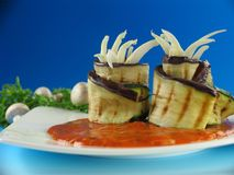 Filled eggplant and zucchini rolls Royalty Free Stock Images