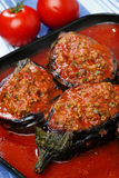 Filled eggplants with meat and vegetable. In tomato sauce Stock Photography