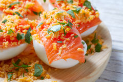 Filled eggs with salmon pinchos tapa Spain Royalty Free Stock Photos