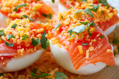 Filled eggs with salmon pinchos tapa Spain Royalty Free Stock Photo