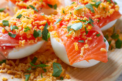 Filled eggs with salmon pinchos tapa Spain Royalty Free Stock Photos