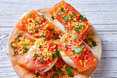 Filled eggs with salmon pinchos tapa Spain Stock Image