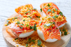 Filled eggs with salmon pinchos tapa Spain Stock Images
