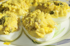 Filled eggs at the tuna Stock Photo