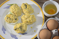 Filled eggs at the tuna Stock Photography