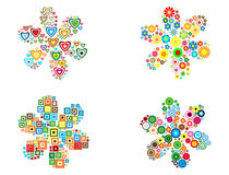 Filled flower. Four filled flower shape with different colored shapes: circles, hearts, squares and flowers Stock Image
