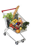 Filled food shopping trolley isolated on white background, no bo Royalty Free Stock Image