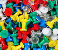Filled frame of thumbtacks in different colors Stock Photos