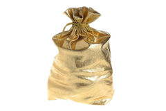 Filled gold sack isolated on white Stock Image