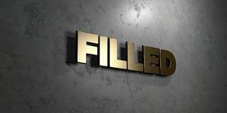 Filled - Gold sign mounted on glossy marble wall  - 3D rendered royalty free stock illustration Stock Photos