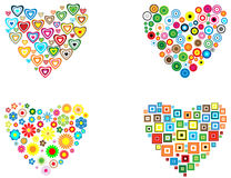 Filled heart. Four filled heart shape with different colored shapes: circles, hearts, squares and flowers Royalty Free Stock Photography